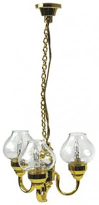 3-Arm Chandelier, Clear Globes