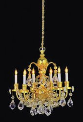 Brass-arm Crystal Chandelier