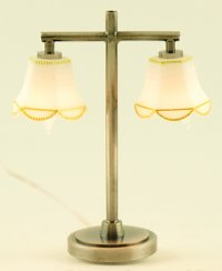 Modern Table Lamp, 2 Tulip Shade, Pewter