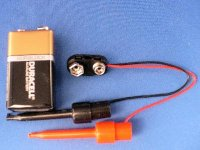 9 volt tester with lead clips