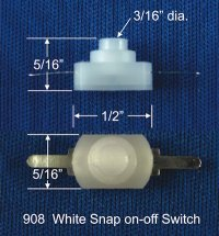 White snap on-off switch (5 pk)